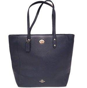 Coach Town Turnlock Tote in Navy